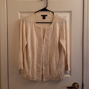August Silk Peach Off-White Cardigan Large